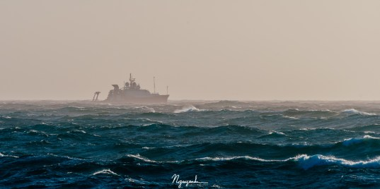 R/V Sally Ride was caught in a windy storm at sea during our experiment.