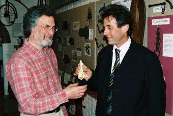Ralph Jackson (right) presents the replica to Peter Greener