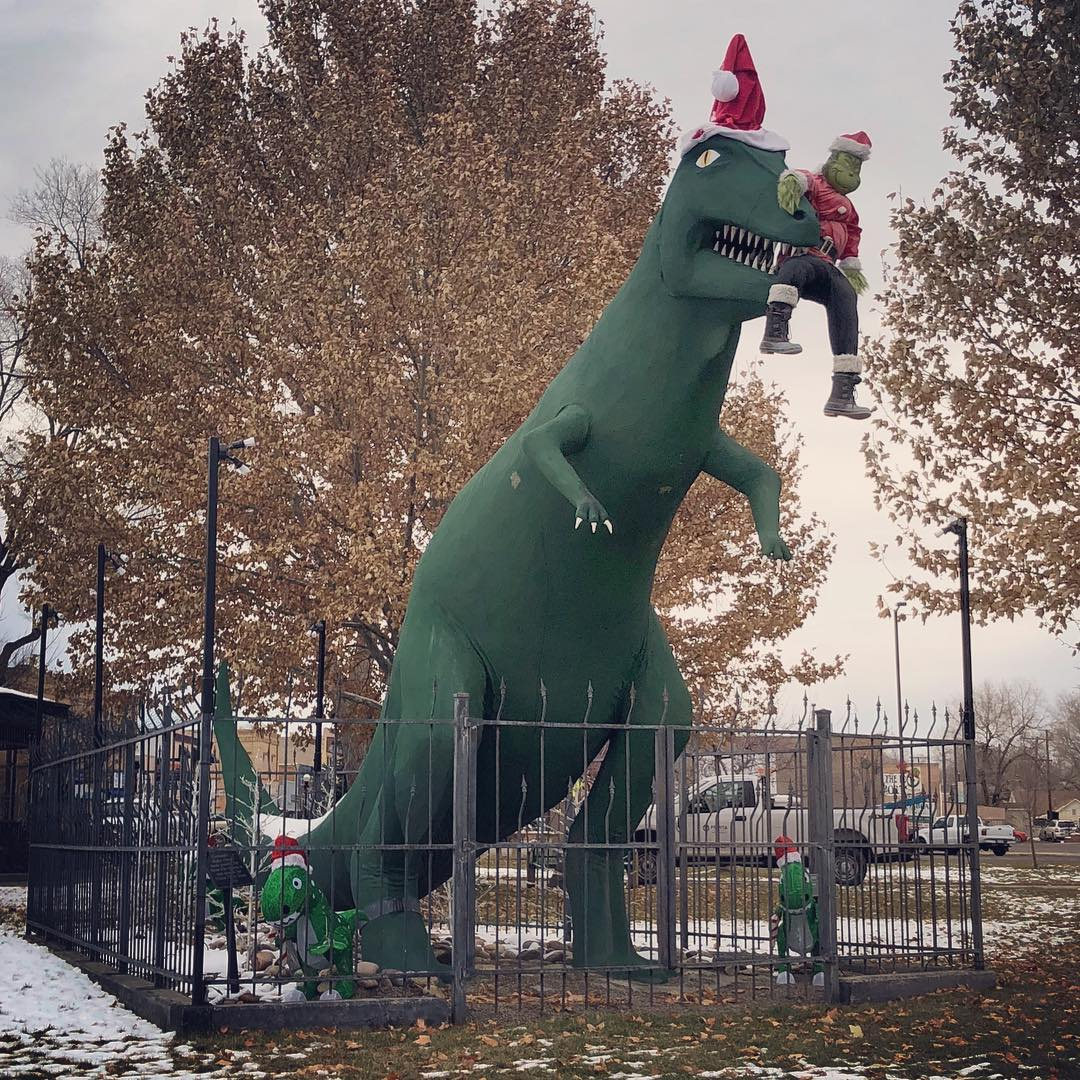 We saw The Grinch several times last Saturday at the Grand Junction Parade of Lights, but it looks like he didn't make it past Fruita on his way out of town. Our dinosaur thinks he's very tasty! . #grinch #dinosaur #fruita #merrychristmas
