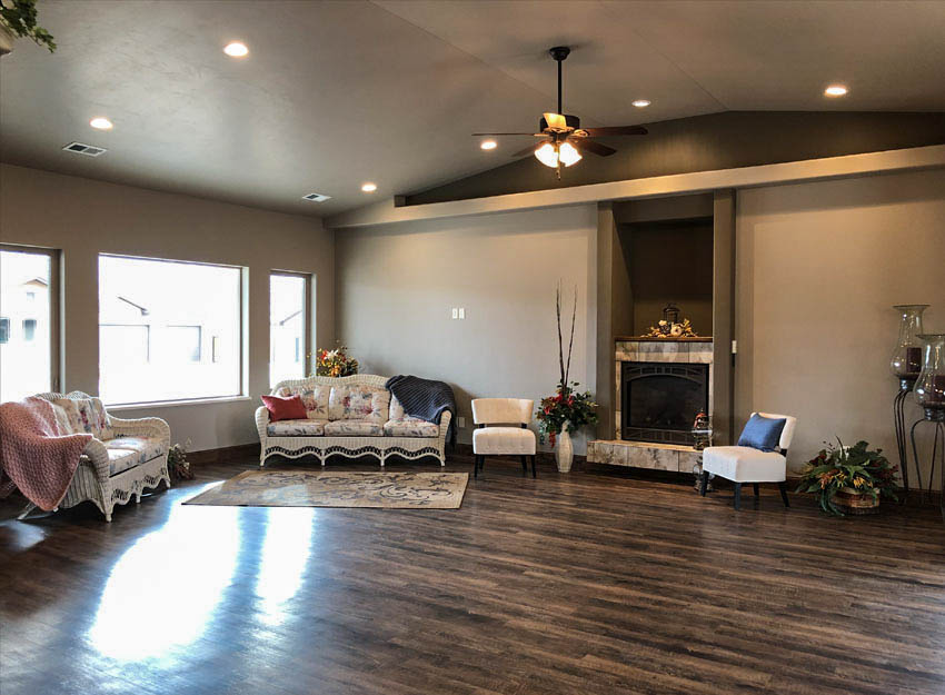 1401 niblick - living room with gas fireplace, large windows