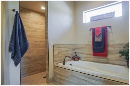 Bathroom Design - Wood look tile throughout the Master Bath