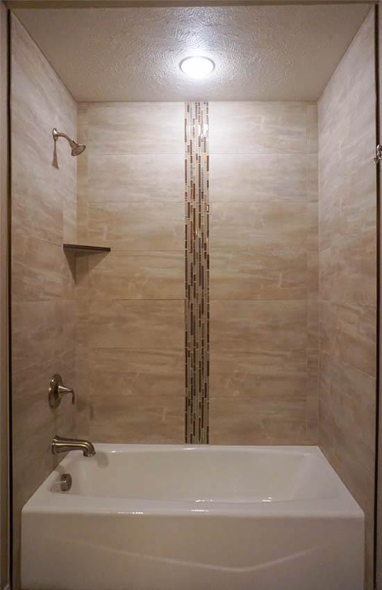 Hall Bath shower has custom tile work