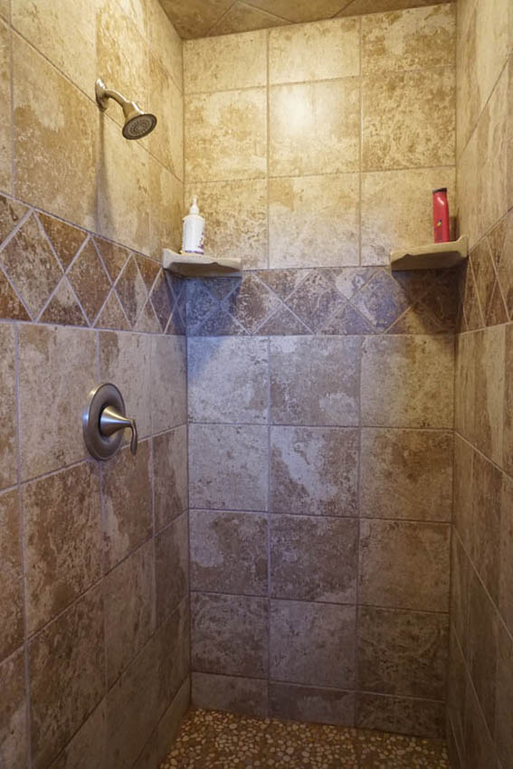 Shower in the downstairs bath of 2575 Young Ct