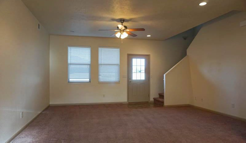 The living room has access to the back yard.
