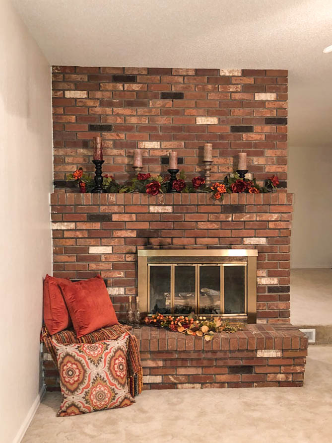 Decorated brick fireplace in 535 Oriole Drive on the Redlands in Grand Junction.
