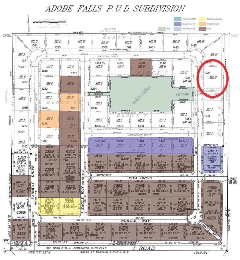 1224 Adobe Falls Way circled on a plat map of Adobe Falls Subdivision