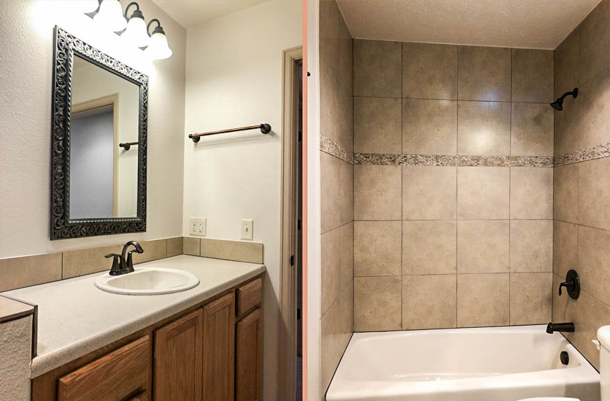 The hall bath in 191 winter hawk includes a storage vanity with a single sink, toilet, and in-tub shower.