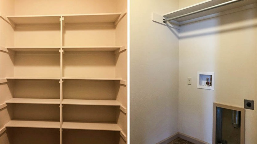 Laundry room and open shelving in 191 winter hawk