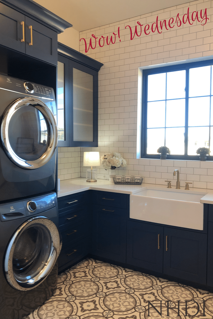 Lovely laundry room in navy, white & brushed brass built by Alegria Homes in Grand Junction, CO. Perfect for this week's Wow Wednesday!