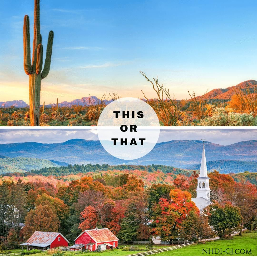 It's This or That Thursday!  When you think of Autumn, do you prefer the vibrant colors and warmth of the desert or do you prefer the vibrant colors and cool, crisp air of the forest?  Tell us in the comments below!  #thisorthat #thisorthatthursday #desertormountains #desert #mountains #fallcolors #fall #autumn  #getoutside