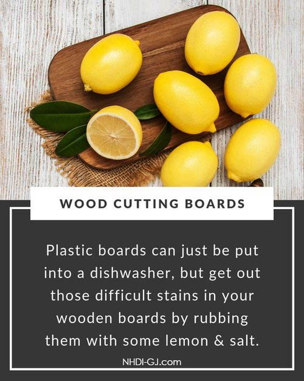 Thanksgiving has happened here in the USA, so here's a tip on getting all of your cutting boards cleaned up & ready for Christmas Baking!   Rub those tough stains on wooden cutting boards with half a lemon dipped in salt, then rinse off.