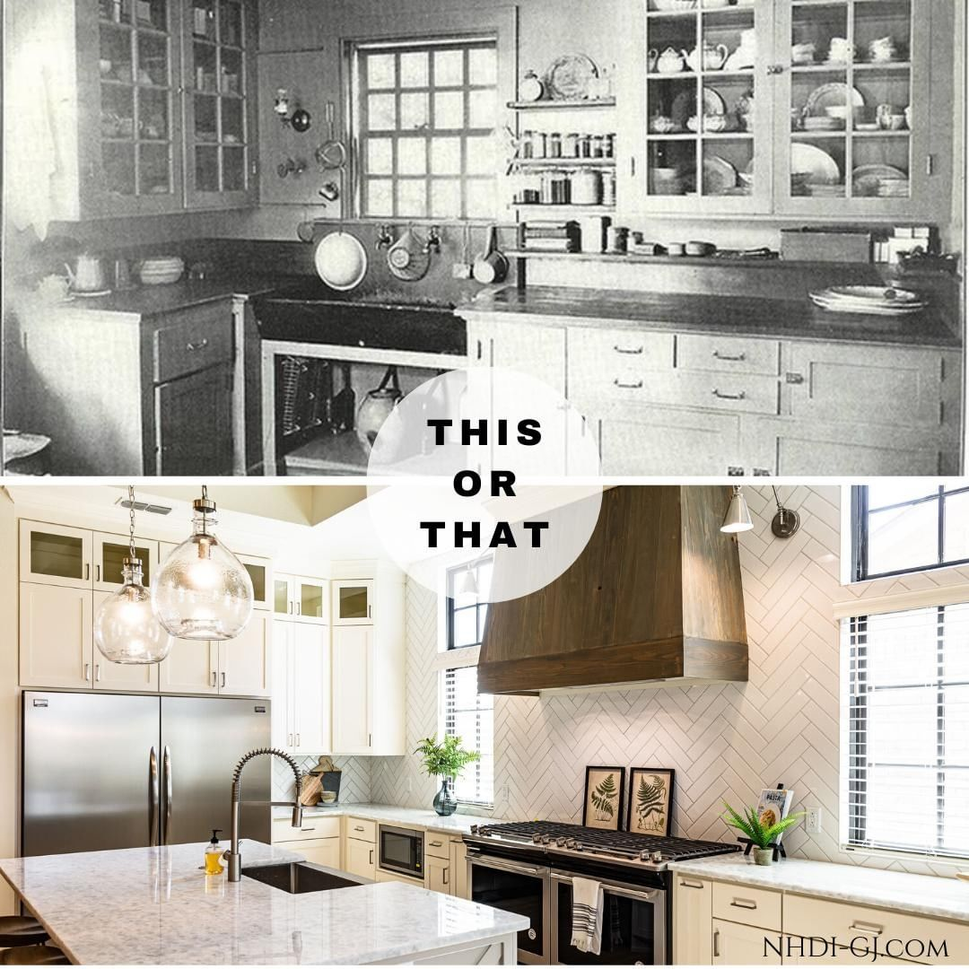 Welcome to the 20's!⁣ ⁣ Which kitchen do you like better? The 1920's style, or the 2020's style?⁣ ⁣ in the late teens and early 1920's, kitchens started becoming a staple in the modern home. The farmhouse sink, standalone cabinets and large cooking stoves were the staples of the 1920's modern kitchen. ⁣ ⁣ Our kitchen floorplans still follow the same basic layout as those early kitchens, and many of those early trends are back now – a range that makes a statement, farmhouse sinks, cabinets with glass doors, and open shelving for pots and pans or plates.⁣ ⁣ Which is your preferred kitchen? Tell us in the comments below!
