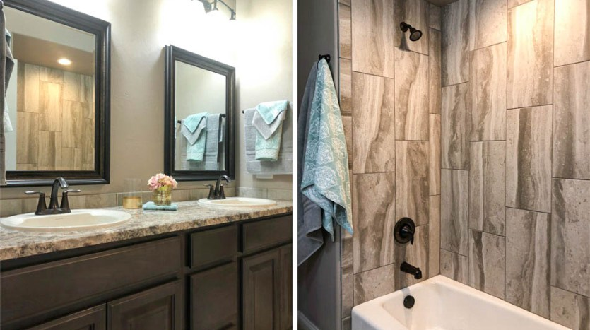 The hall bath in 1305 Niblick has double sinks in a storage vanity, an in-tub shower with a corner shampoo shelf, and a toilet. The linen closet is located just outside the bathroom.