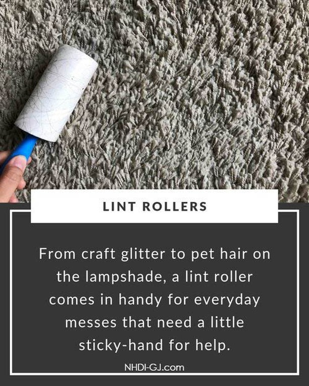 Clean up your lampshades – and any other soft surfaces – with a lint roller. They can get up so many things, SO much more easily than other methods! ⁣ ⁣ I clean the cat's fur off of my bedspread with a lint roller (waaaaaay too often!) because it does the job the best!