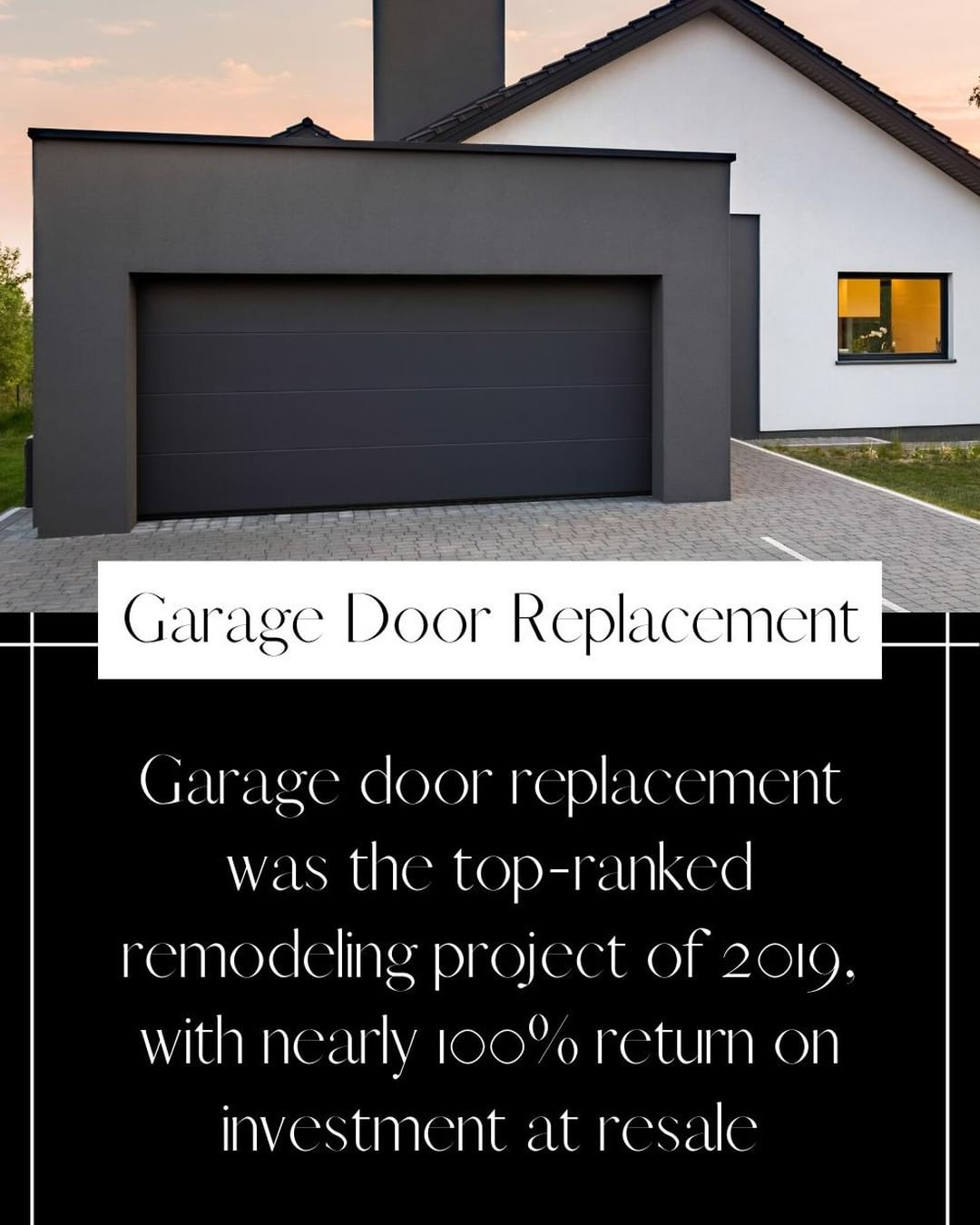 The top-ranked remodel of 2019 was replacing the garage door – which gives nearly a 100% return on investment!⁣ ⁣ For more ideas on ways to update your home, give us a call.⁣ ⁣ *source: Remodeling Cost vs. Value Report 2019⁣ ⁣ 𝐍𝐞𝐰 𝐇𝐨𝐫𝐢𝐳𝐨𝐧𝐬 𝐃𝐞𝐯𝐞𝐥𝐨𝐩𝐦𝐞𝐧𝐭, 𝐈𝐧𝐜.⁣ 𝟗𝟕𝟎-𝟗𝟖𝟓-𝟗𝟒𝟑𝟐 |  𝐈𝐧𝐟𝐨@𝐍𝐇𝐃𝐈𝐆𝐉.𝐜𝐨𝐦⁣ ⁣ #Realtor #HouseExpert #home #reno #renovations #investment #RealEstateAgent #themoreyouknow #agent #weekendtips #remodeling #garagedoor #garage #ROI #realestate