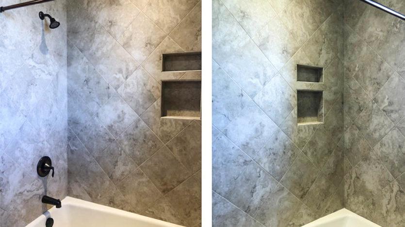 The shower in the hall bath has custom tiled cubby holes for shampoo & soap.