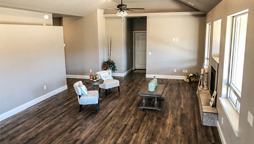 The LVP flooring throughout the living area is easy to care for, and the neutral colors enhance the warm feeling, without overpowering your decor.