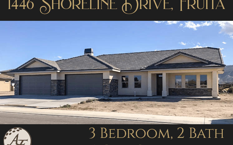 1446 Shoreline Drive in Fruita is a 3 bedroom, 2 bath executive home with a 4-car garage, built-in locking storage room, and large RV parking area with space for multiple vehicles. The living area is open concept, with windows facing both north and south, and the master has a 5-piece bath, dual walk-in closets, and access to the covered back patio. Located on the golf course in Fruita, this home is a must-see!