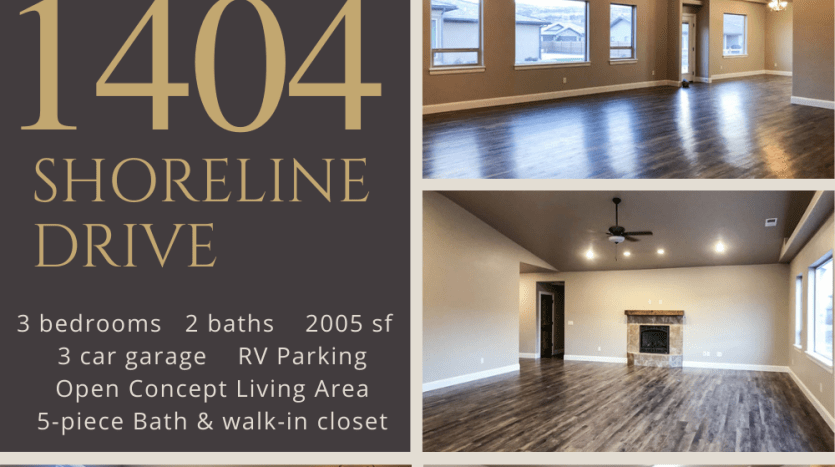 1404 Shoreline Drive is a 3 bedroom, 2 bath home in Fruita, CO. It has an open concept living area, covered front porch, back patio, 3-car garage + RV parking. The kitchen includes stainless steel appliances.