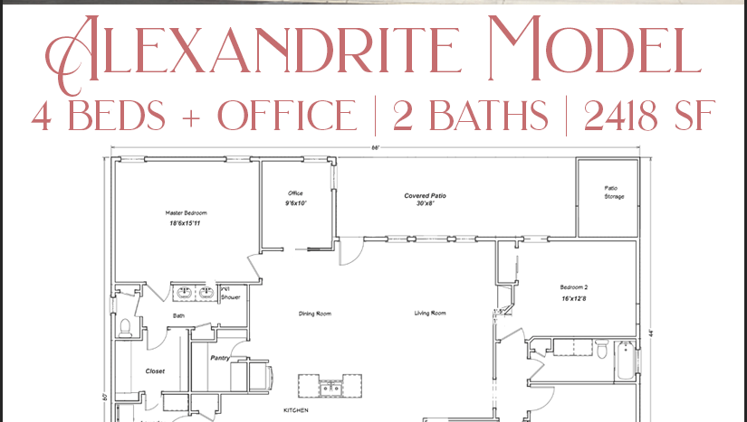 The Alexandrite Model is a 4 bedroom home. There are 3 variations to choose from, offering 2, 2½, or 3½ baths. Contact us to learn what we currently have under construction!