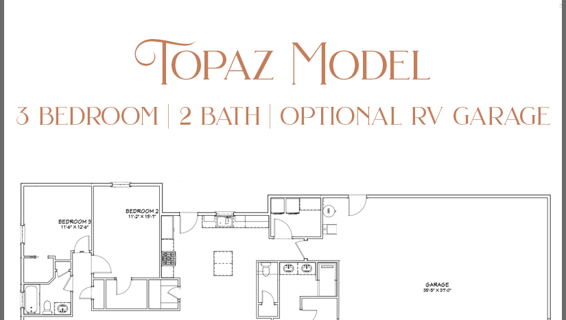 Topaz Model, a 3 bedroom, 2 bath home with optional RV garage in Emerald Ridge Estates.