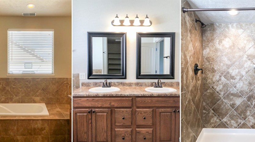 The master bath includes a double sink vanity, soaking tub, and step-in shower.