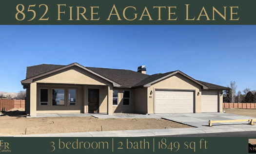 852 Fire Agate Lane is a 3 bedroom, 2 bath 1849 square foot home in Emerald Ridge Estates.
