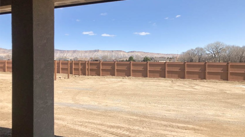 The back yard of 852 faces east, with views of the Bookcliffs and Grand Mesa