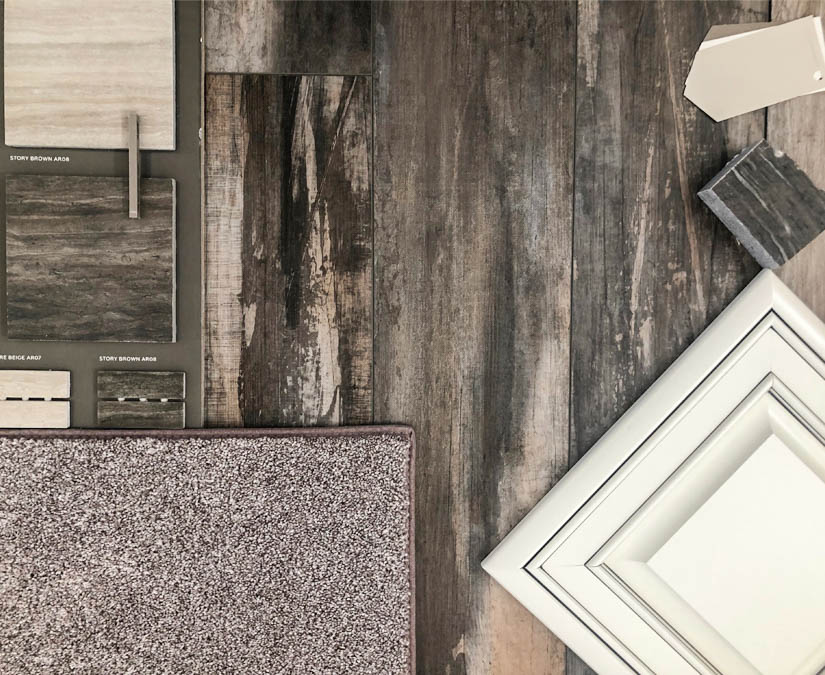 The finishes chosen for 853 Fire Agate include glazed white cabinets, neutral carpet, and tile and flooring in neutral greige tones.
