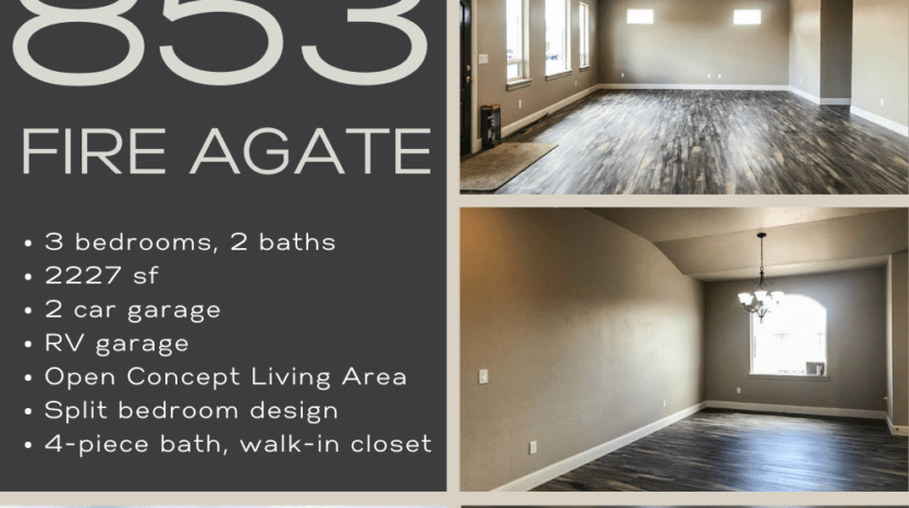 853 Fire Agate Lane is the perfect lock & leave home for those who love to adventure. Space for all of the toys - locked up inside the large 16-foot tall RV garage! The 3-car garage includes a 2-car bay, and a 38-foot deep RV bay with a 10'x14' door, allowing space for most small to medium RV's, campers, boats, etc. On the back of the home is an approx. 30x20 concrete patio off of the kitchen, with a gas hook-up for your grill. The xeriscaped yard has a timed & pressurized irrigation system, so you don't have to worry about watering the yard while you are away. Inside the home, you will find a spacious open-concept living area with vaulted ceilings and large, east facing widows to let in natural light. The kitchen includes modern white cabinetry, with quartzite countertops and black stainless appliances, as well as an island and walk-in pantry! The master suite includes a 4-piece bath with a double sink vanity, private toilet room with linen closet, and a custom tiled shower. The split bedroom design puts the other 2 bedrooms across the home, each with a walk-in closet. They share a full bath.