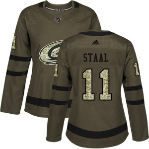 Adidas Hurricanes #11 Jordan Staal Green Salute to Service Women's Stitched NHL Jersey