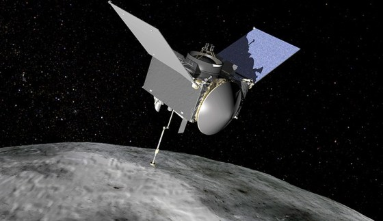 An artists impression of OSIRIS-REx, with its two solar panels held in a 'v' shape, and collector heading pointing directly down at the asteroid Bennu.