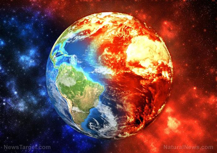 Planet Earth Burning Global Warming Concept Elements Image Furnished Nasa