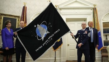 Space Force flag unveiled in Oval Office, presented to Trump