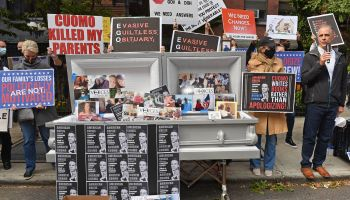 Casket outside Brooklyn nursing home filled with 6,500 covers of Cuomo's book
