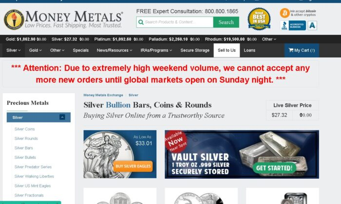 Major Dealers' Websites Report Silver Shortages