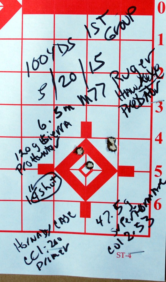 Ruger Hawkeye Pred 6.5 Creedmoor  1st 4s group 100 yds 1.0 in.