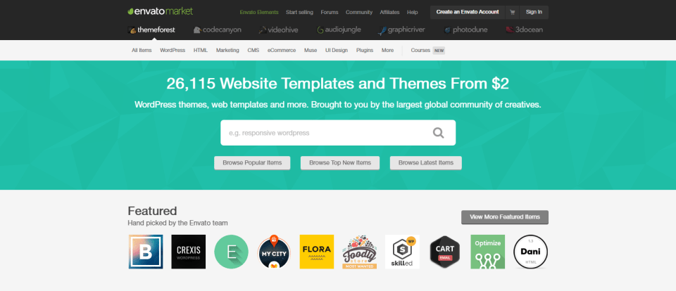 Website Templates Themes from ThemeForest thousand