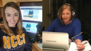 NCCC podcast co-host, Madison Ebsary, shows off her recording studio. Denise Prohaska virtually speaks with a guest on the latest episode of Morning Thunder.