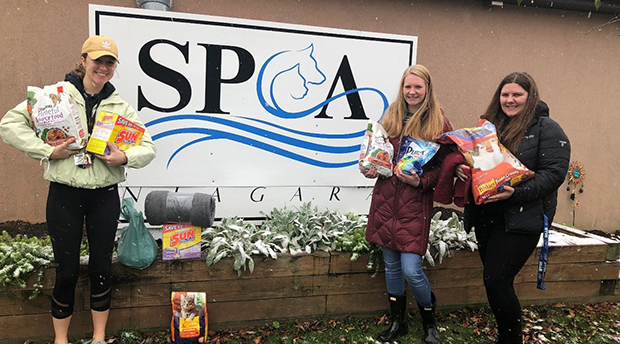 Health Studies students collected blankets, food, toys, cleaning supplies and grooming tools to present to the Niagara SPCA.