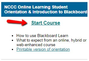 NCCC Online Learning Student Orientation & Introduction to Blackboard
