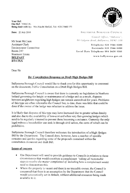 Report On The High Hedges Bill NIA 1509