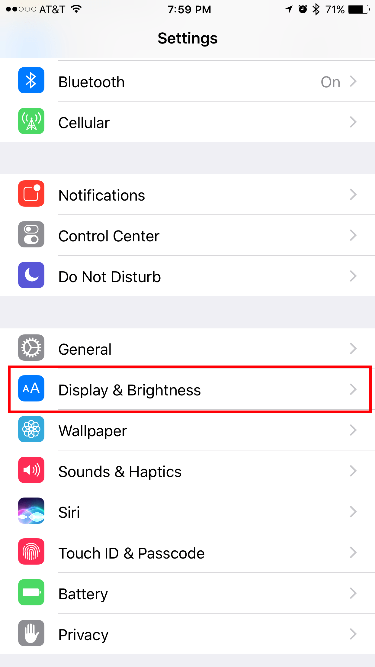 Display & Brightness