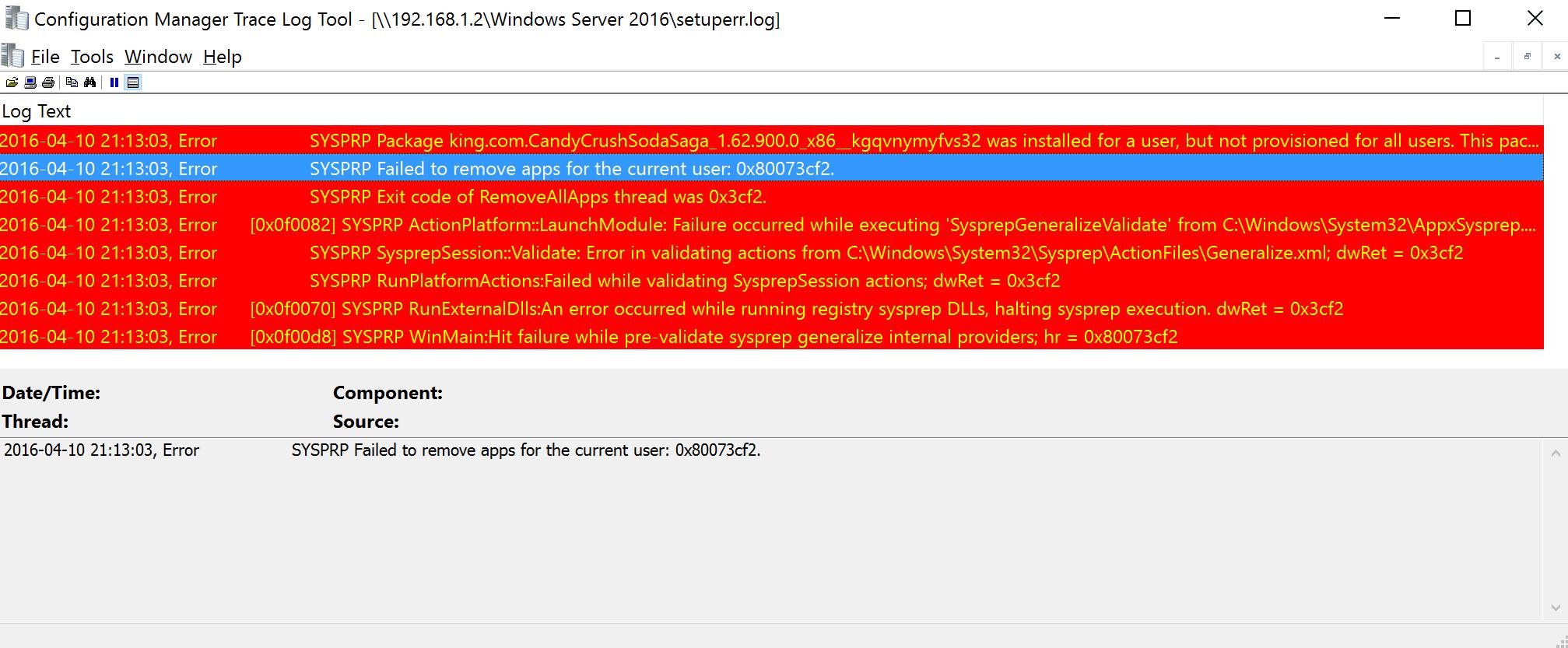 Sysprep fails with Microsoft Windows 10