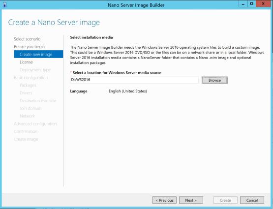 Nano Server Image Builder Select location