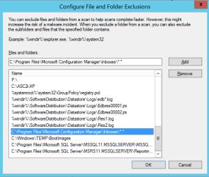 Configure antivirus exceptions for SCCM