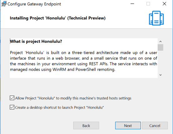 Install and configure Honolulu