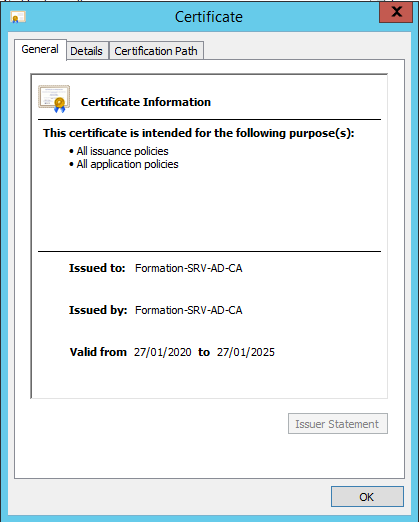 Properties of the certificate