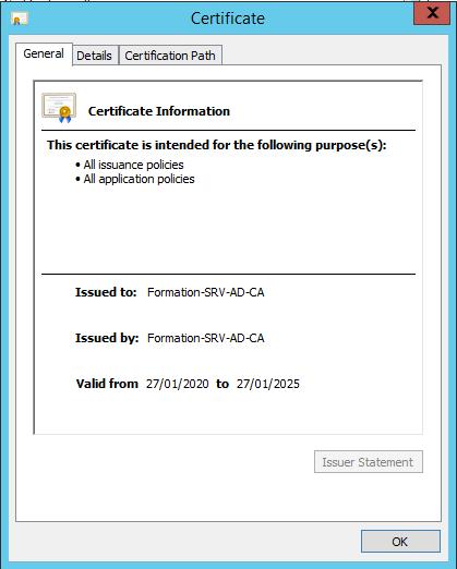 Properties of the certificate