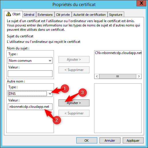 Configure request certificate